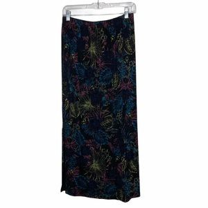 French Laundry Black Palm Leaf Pull On Maxi Skirt